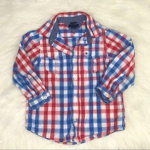 Tommy Hilfiger Blue & Red Plaid Button-Down Shirt